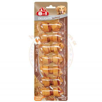 8in1 Delights Barbecue Bones Köpek Ağız Bakım Burgu Kemik 7'li Paket 84 Gr