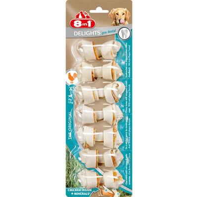 8in1 Delights Pro Dental Tavuk Etli Düğümlü Köpek Kemiği 84 gr 7 Adet