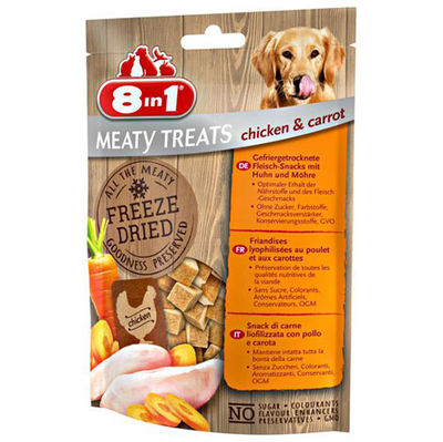 8in1 Meaty Treats 661442 Tavuk Etli ve Havuç Kurutulmuş Tahılsız Köpek Ödülü 50 Gr