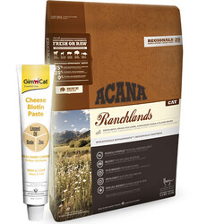 Acana - Acana Ranchlands Kuzu Domuz ve Bizon Kedi Maması 5,4 Kg + Gimcat Cheese Biotin Paste