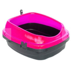 Diğer / Other - Açık Kedi Tuvalet Kabı Kürekli Fuşya 49,5x40x22 Cm