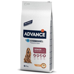 Advance - Advance Medium Senior Orta Irk Yaşlı Köpek Maması 12 Kg + 5 Adet Temizlik Mendili