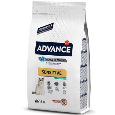 Advance Sensitive Kısırlaştırılmış Somonlu Kedi Maması 1.5 Kg + 2 Adet Temizlik Mendili