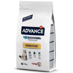 Advance - Advance Sensitive Somonlu Yetişkin Kedi Maması 1.5 Kg + 100 Gr Yaş Mama