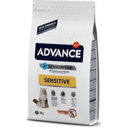 Advance - Advance Sensitive Somonlu Yetişkin Kedi Maması 3 Kg + 2 Adet 100 Gr Yaş Mama