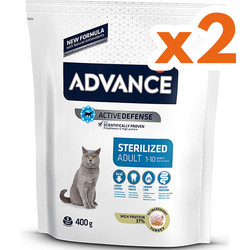 Advance - Advance Sterilized Kısırlaştırılmış Hindili Kedi Maması 400+400 Gr (Çanta Hediyeli)