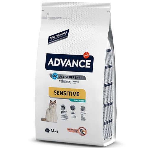 c5c5705344c6a Advance Sensitive Kısırlaştırılmış Somonlu Kedi Maması 1.5 Kg + 100 Gr Yaş  Mama