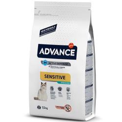 Advance - Advance Sensitive Kısırlaştırılmış Somonlu Kedi Maması 1.5 Kg+2 Adet Temizlik Mendili