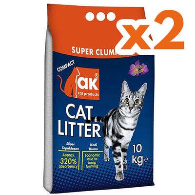 Akkum Doğal Kalın Taneli Lavantalı Kedi Kumu 10 Kg x 2 Adet