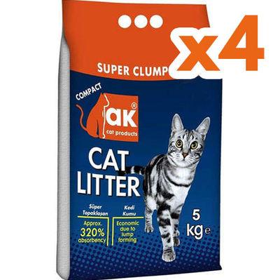 Akkum Doğal Kalın Taneli Marsilya Kedi Kumu 5 Kg x 4 Adet