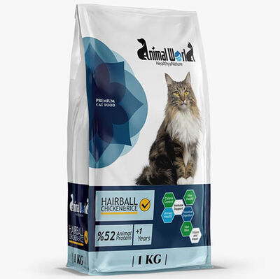 Animal World Hairball Tüy Yumağı Kontrolü Tavuk Etli Kedi Maması 1 Kg