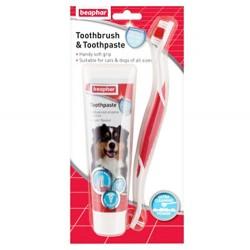 Beaphar - Beaphar 015303 Toothbrush Köpek Diş Fırçası ve Diş Macunu Seti