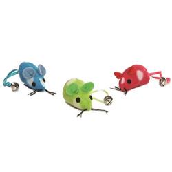 Beeztees - Beeztees 430333 Peluş Renkli Fare Kedi Oyuncağı (3lü Paket)