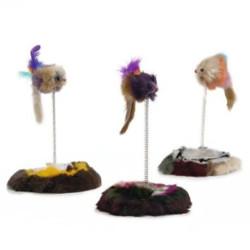 Beeztees - Beeztees 430311 Peluş Tabanlı Yaylı Renkli Kedi Oyuncağı 28 Cm