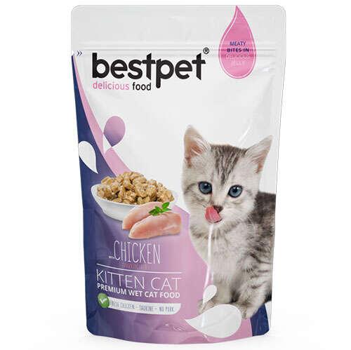 Bestpet Kitten Pouch Jelly Tavuk Etli Yavru Kedi Yaş Maması 85 Gr - Kedi  Yaş Mamaları - Bestpet
