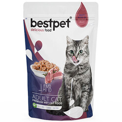 Bestpet - Bestpet Pouch Jelly Kuzu Etli Kedi Yaş Maması 85 Gr