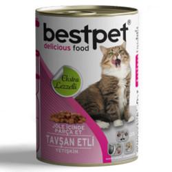 Bestpet - Bestpet Tavşanlı Parça Etli ve Jöleli Kedi Konservesi 415 Gr