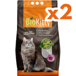 Bio Kitty - BioKitty Bebek Pudralı Tozsuz İnce Taneli Topaklanan Kedi Kumu 10 Lt x 2 Adet