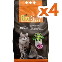 Bio Kitty - BioKitty Bebek Pudralı Tozsuz İnce Taneli Topaklanan Kedi Kumu 5 Lt x 4 Adet