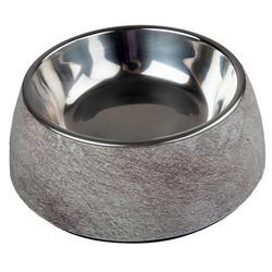 Bobo - Bobo 103857 Ahşap Desenli Metal Çelik Taslı Kedi ve Köpek Mama Kabı 340 ML