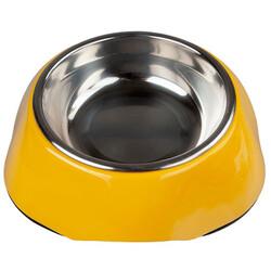 Bobo - Bobo 3134(A5) Melamin Çelik Taslı Kedi ve Köpek Mama-Su Kabı 150 ML-(Sarı)