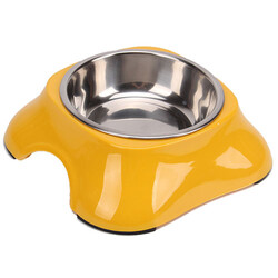 Bobo - Bobo 3138 ( A5 ) Melamin Çelik Taslı Kedi ve Köpek Sarı Mama Kabı 150 ML