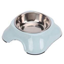 Bobo - Bobo 3138(A5) Melamin Çelik Taslı Kedi ve Köpek Açık Mavi Mama Kabı 150 ML