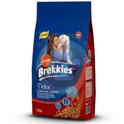 Brekkies - Brekkies Delice Tavuk,Hindi ve Sebze Kedi Maması 1,5 Kg+100 Gr Yaş Mama
