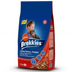 Brekkies - Brekkies Excel Cat Mix Biftekli Kedi Maması 1,5 Kg+2 Adet Temizlik Mendili