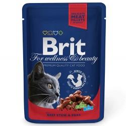 Brit Care - Brit Premium Beef Sığır Eti ve Bezelye Yaş Kedi Maması 100 Gr