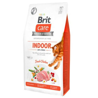 Brit Care Indoor Anti Stress Tavuk Etli Tahılsız Kedi Maması 2 Kg + 5 Adet Temizlik Mendili