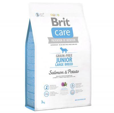 Brit Care Junior Large Somon Büyük Irk Yavru Tahılsız Köpek Maması 3 Kg + Temizlik Mendili