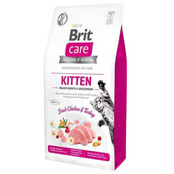 Brit Care - Brit Care Kitten Tavuk ve Hindi Etli Tahılsız Yavru Kedi Maması 2 Kg + 5 Adet Temizlik Mendili