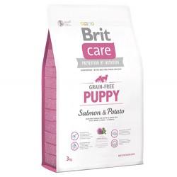 Brit Care - Brit Care Puppy Somon Yavru Tahılsız Köpek Maması 3 Kg + 5 Adet Temizlik Mendili