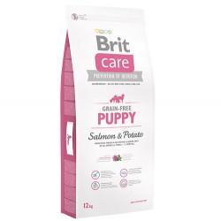 Brit Care - Brit Care Puppy Somonlu Yavru Tahılsız Köpek Maması 12 Kg + 5 Adet Temizlik Mendili