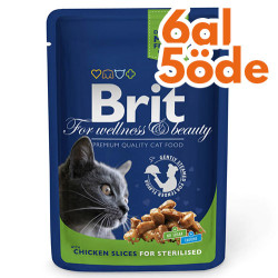 Brit Care - Brit Premium Chicken Sterilised Tavuklu Kısırlaştırılmış Kedi Yaş Maması 100 Gr-6 Al 5 Öde