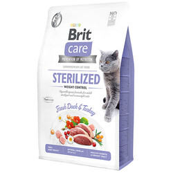 Brit Care - Brit Care Sterilised Weight Control Ördek ve Hindili Tahılsız Kısır Kedi Maması 7 Kg + 10 Mendil
