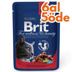Brit Care - Brit Premium Beef Sığır Eti ve Bezelye Yaş Kedi Maması 100 Gr - 6 Al 5 Öde