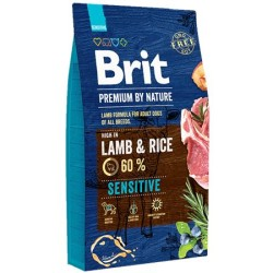Brit Care - Brit Premium By Nature Sensitive Lamb Kuzu Etli Hassas Köpek Maması 3 Kg + 3 Adet Mendil