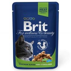 Brit Care - Brit Premium Chicken Sterilised Tavuk Parçalı Kısırlaştırılmış Kedi Yaş Maması 100 Gr