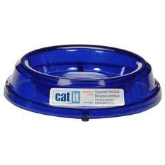 Catit - Catit 50445 Sert Plastik Kedi Mama - Su Kabı (Mavi)