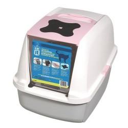 Catit - Catit 50700 Büyük Boy Kapalı Filtreli Kedi Tuvaleti (Pembe)