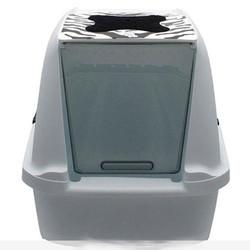 Catit - Catit 50703 Büyük Boy Kapalı Filtreli Kedi Tuvaleti (Zebra Desenli)