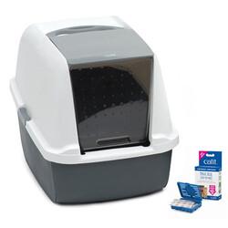 Catit - Catit Magic Blue Filtresiz Kedi Tuvaleti 57x46,5x42 Cm (Gri-Beyaz)