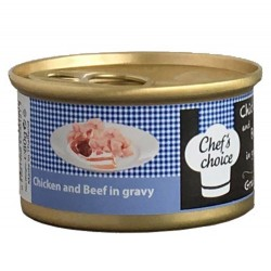 Chefs Choice - Chefs Choice Gravy Tavuk ve Biftek Soslu Tahılsız Kedi Konservesi 80 Gr