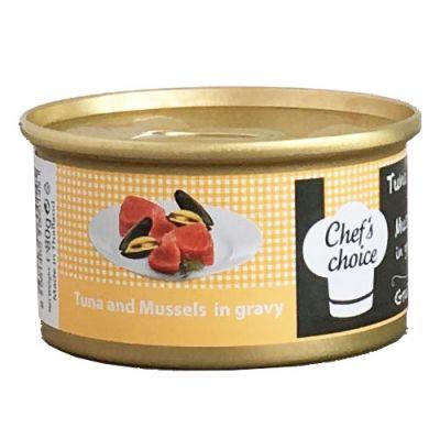 Chefs Choice Gravy Ton Balıklı ve Midye Soslu Tahılsız Kedi Konservesi 80 Gr