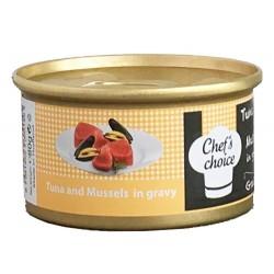 Chefs Choice - Chefs Choice Gravy Ton Balıklı ve Midye Soslu Tahılsız Kedi Konservesi 80 Gr