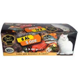 Chefs Choice - Chefs Choice Gravy Ton Balıklı ve Midye Tahılsız Kedi Konservesi 80 Gr-6 Al 5 Öde