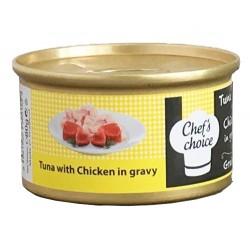 Chefs Choice - Chefs Choice Gravy Ton Balıklı ve Tavuklu Soslu Tahılsız Kedi Konservesi 80 Gr