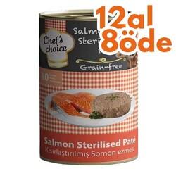 Chefs Choice - Chefs Choice Pate Salmon Kısırlaştırılmış Tahılsız Kedi Konservesi 400 Gr - 12 Al 8 Öde